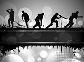 Silhouettes of a cricket batsman and bowlers in playing action on abstract background. poster
