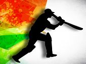Silhouette of cricket batsman in playing action on colorful grungy background. poster