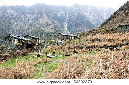 Mountain House From Stones In Himalaya