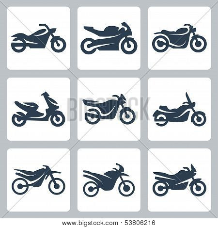 Vector Isolated Motorcycles Icons Set