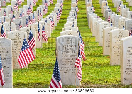 Rows Veteran Grave Markers With American Flags