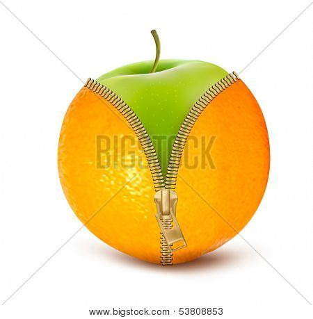 Unzipped orange with green apple. Fruit and diet against cellulite.  Raster version of vector.