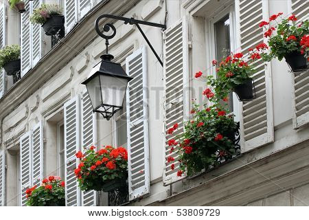 Windows With Shutters Of Old Buildings On Montmartre, Paris.