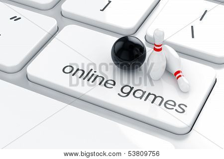 3d render of bowling simbol icon on the keyboard. Online games concept poster