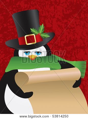 Penguin Male with Christmas Top Hat Holding Scroll List on Red Textured Background Illustration poster