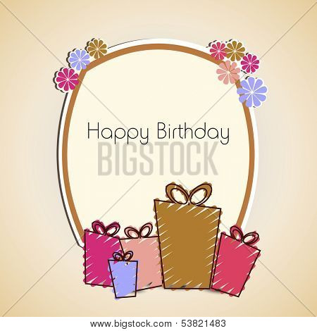 Happy Birthday, greeting card or invitation card with colorful gift boxes and birthday wishes.  poster