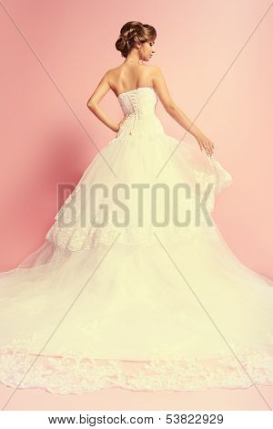 Beautiful charming bride in a luxurious dress standing with her back.