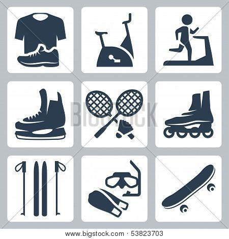 Vector sports goods icons set: sportswear stationary bicycle treadmill skates rackets and shuttlecock roller skates skis diving mask and flippers skateboard poster