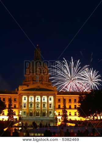 Fireworks Over Alberta Legislative Building