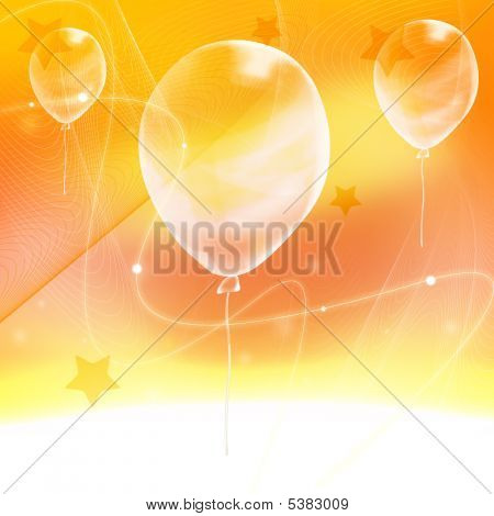 Abstract Yellow  Background  With Ballon