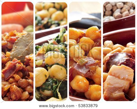 collage of different spanish legume stews, such as lentils, chickpeas and spinach, or white beans with chorizo