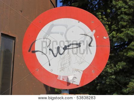 Traffic Sign with graffito tags