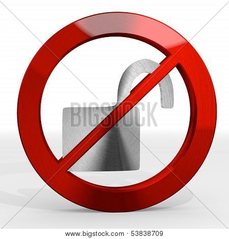 3D Render Of A Metallic Unsafe Sign Not Allowed