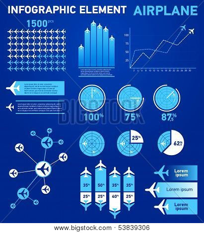 Infographics elements airplane blue cargo transportation icons