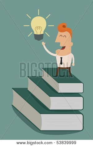 businessman standing on a stack of books to light bulb , eps10 vector format