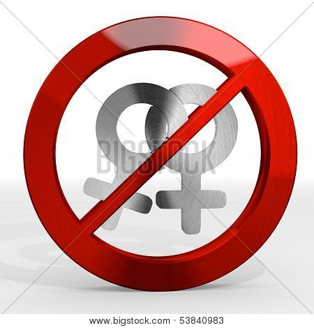3D Graphic Of A Forbidden Homosexual Sign Not Allowed