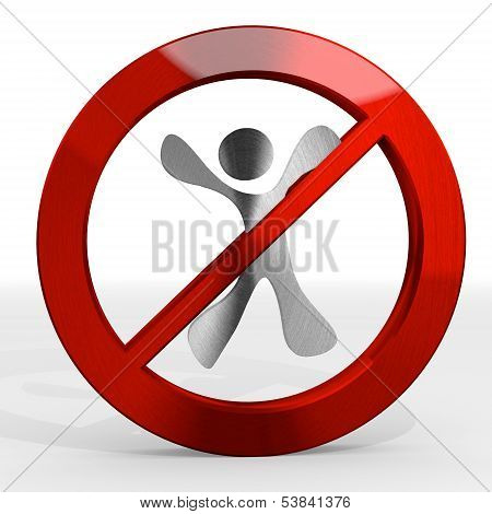 Illustration Of A Prohibited Happy Character Sign Not Allowed