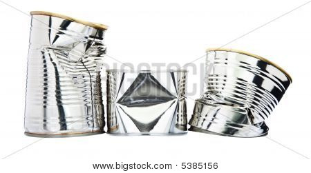 Three Damaged Tin Cans