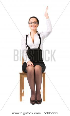 Young Businesswoman Stretching Up Hand