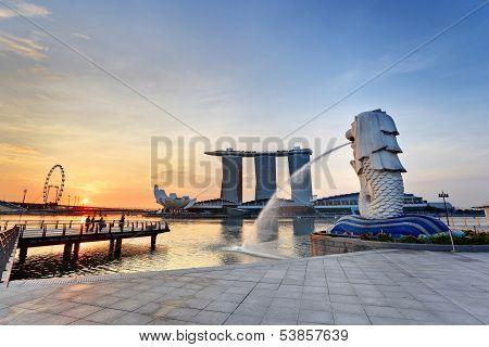 sunrise at Singapore city