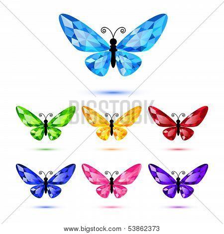Set of seven diamond butterflies