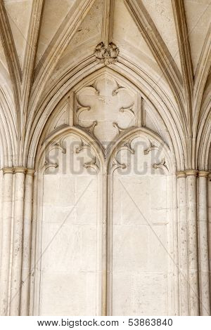 Detail on Exterior Stone Facade Winchester Cathedral Church England UK