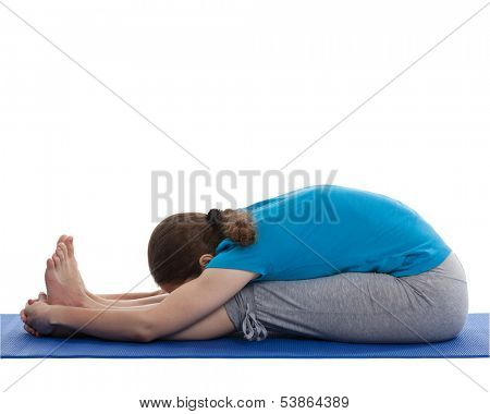Yoga - young beautiful woman yoga instructor doing Seated Forward Bend or Intense Dorsal Stretch pose asana (Paschimottanasana) exercise isolated on white background poster