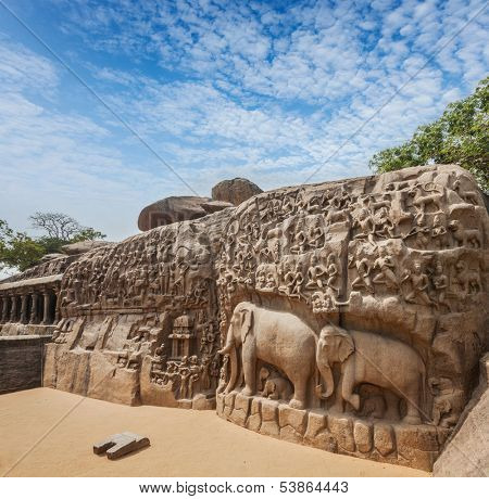 Descent of the Ganges and Arjuna's Penance ancient stone sculpture - monument at Mahabalipuram, Tamil Nadu, India poster