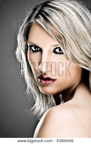 Closeup Of A Sensual Blond Woman