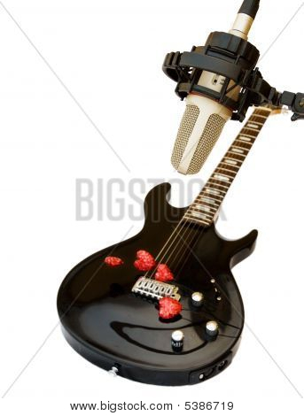 Studio Recording Microphone With Electric Guitar