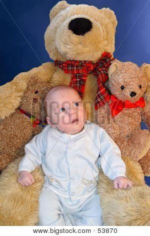 Baby Among Teddies