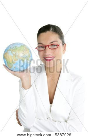 Blue Global World Map In Businesswoman Hands