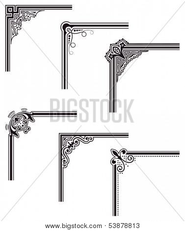 black decorative vector frame corners