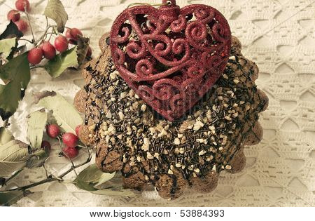 Traditional Cake With Bright Red Heart