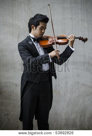 Asia Man With His Violin
