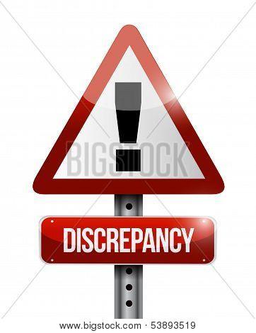 Discrepancy Warning Road Sign Illustration Design