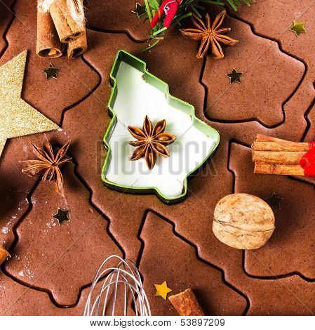 Christmas Gingerbread Baking Background Dough, Cookie Cutters, Spices And Nuts. Christmas Festive Fo