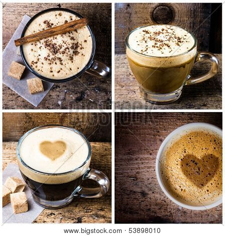 Coffee Collage With Coffee Espresso, Cappuccino, Latte And Mocha. Food Set Of Cap With Coffee. Coffe