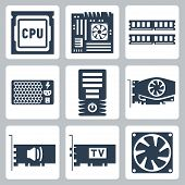 Vector hardware icons set: CPU motherboard RAM power unit computer case video card sound card TV-tuner cooler poster