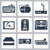 Vector hardware icons set: keyboard computer mouse modem graphics tablet UPS multifunction device scanner projector surge filter poster