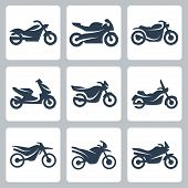 Vector isolated motorcycles, motobikes icons set over white poster