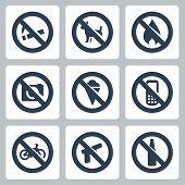 """Vector """"prohibitory signs"""" icons set: no smoking no dogs no fire no cameras no icecream no cell phones no bicycles no guns no alcohol poster"""