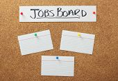 Jobs Board banner on a cork notice board with blank white note cards as a concept for job searching and employment opportunities. poster