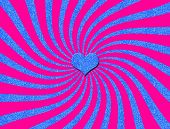An abstract digital illustration with pink spiral opposite blue glitter spirals with a blue glitter heart in the eye of the design. poster