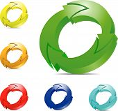 Recycle concept. Vector set of color cycling arrows isolated on white background. poster