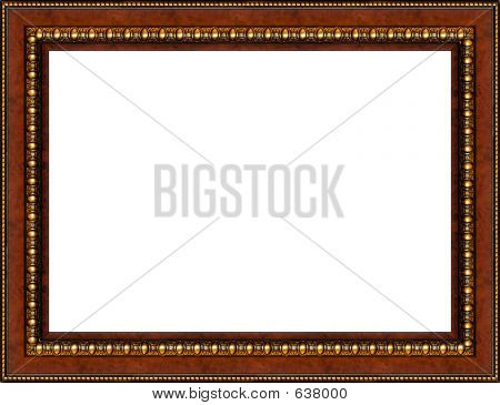 Antique Rustic Wooden Picture Frame Isolated