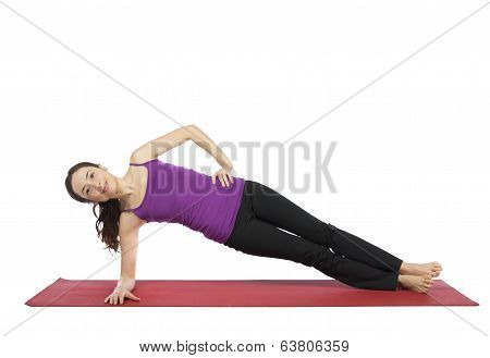 Woman Doing A Variation Of Side Plank Pose