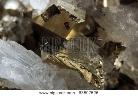 Crystal, Gold, Bronze, Copper, Iron. Macro. Extreme Closeup