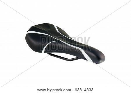 black bike saddle isolated on white background poster