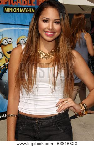 LOS ANGELES - APR 11:  Jasmine Villegas at the Despicable Me Minion Mayhem  and Super Silly Fun Land at Universal Studios Hollywood on April 11, 2014 in Universal City, CA